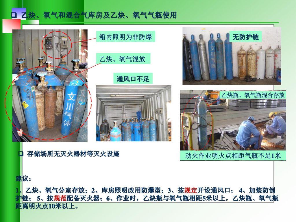 乙炔、氧气和混合气库房及乙炔、氧气气瓶使用