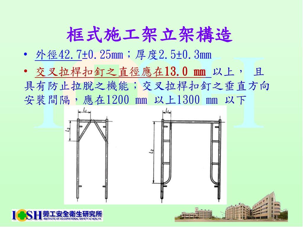 框式施工架立架構造 外徑42.7±0.25mm;厚度2.5±0.3mm