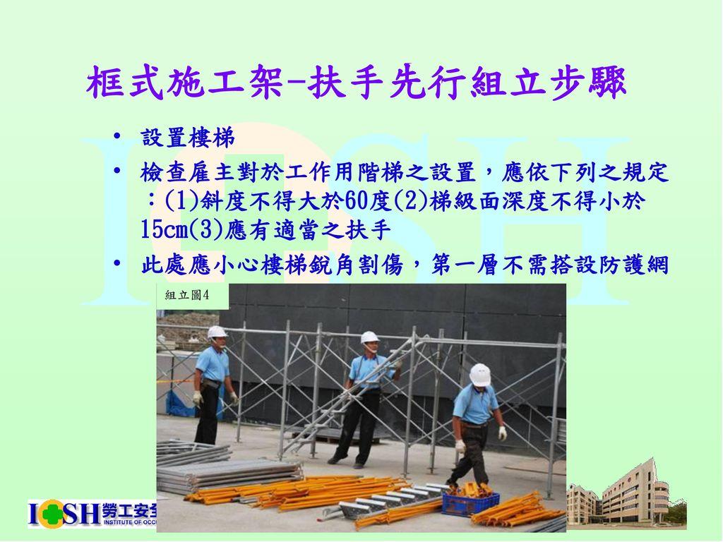 框式施工架-扶手先行組立步驟 設置樓梯. 檢查雇主對於工作用階梯之設置,應依下列之規定:(1)斜度不得大於60度(2)梯級面深度不得小於15cm(3)應有適當之扶手. 此處應小心樓梯銳角割傷,第一層不需搭設防護網.