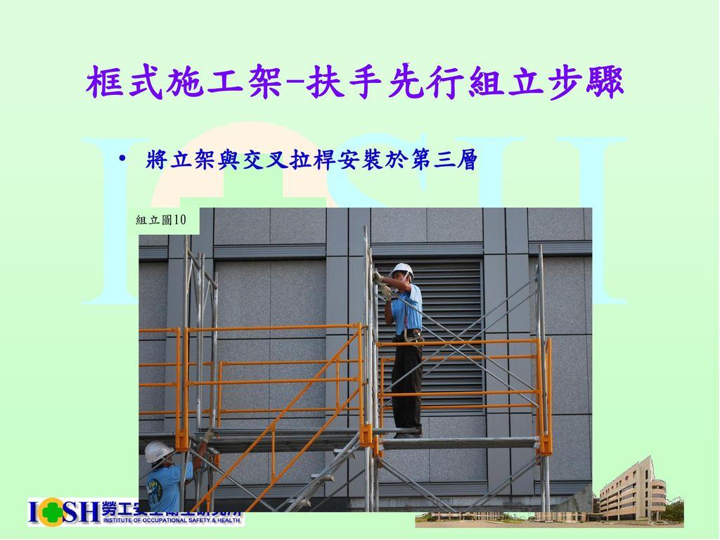 框式施工架-扶手先行組立步驟 將立架與交叉拉桿安裝於第三層 組立圖10