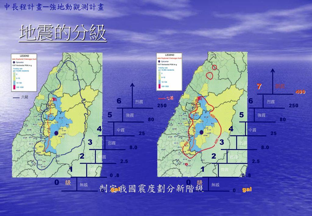 地震的分級 制定我國震度劃分新階級 中長程計畫─強地動觀測計畫 7 6 5 4 3 2 1 級 gal 劇震 400 250 80 25