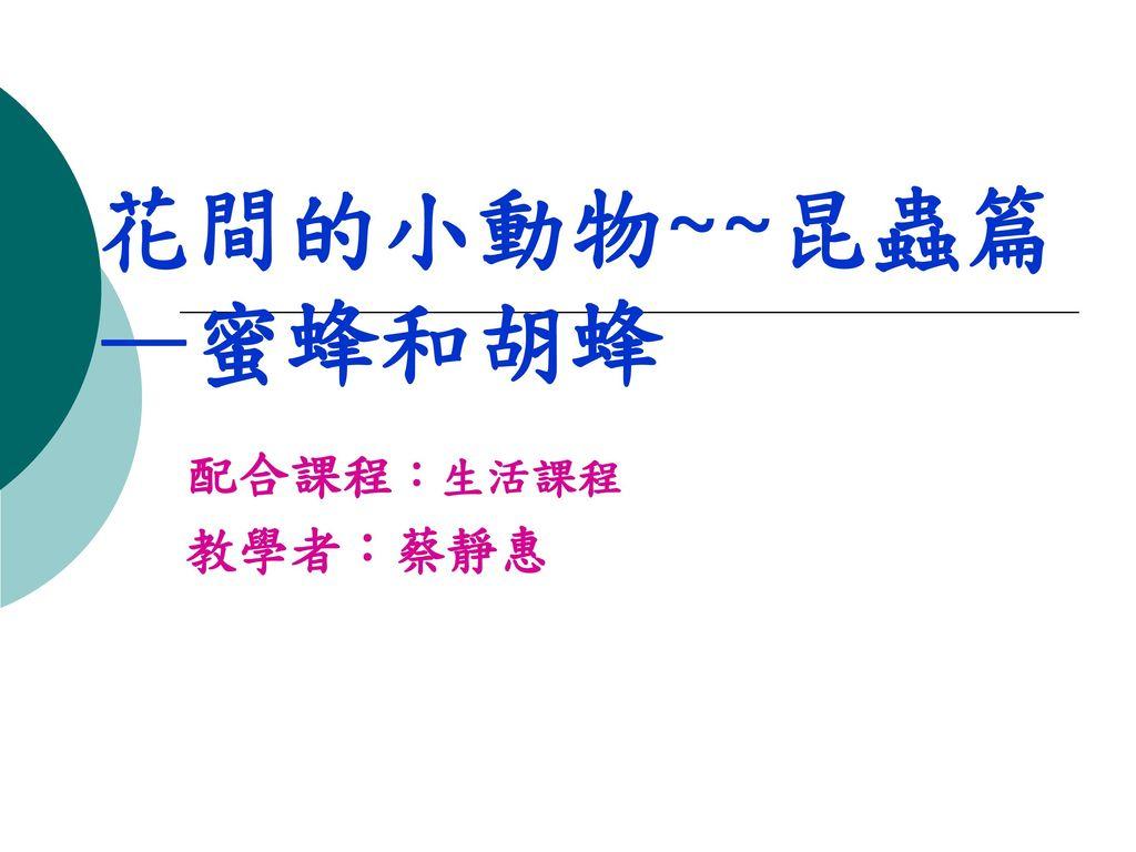 花間的小動物~~昆蟲篇 —蜜蜂和胡蜂 配合課程:生活課程 教學者:蔡靜惠