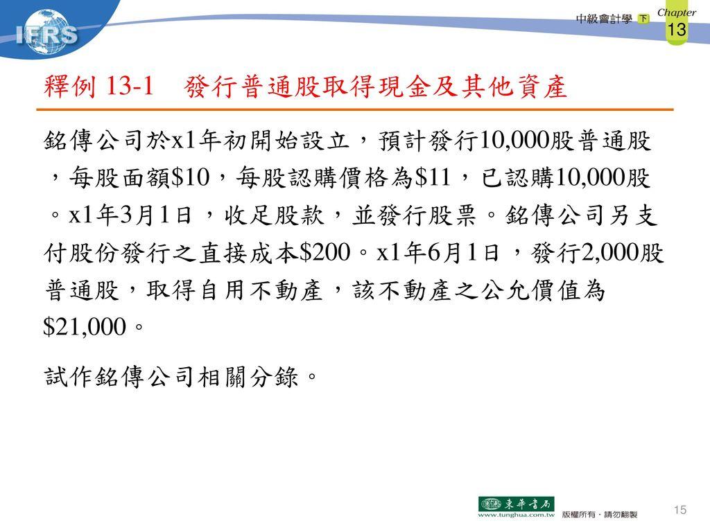 釋例 13-1 發行普通股取得現金及其他資產