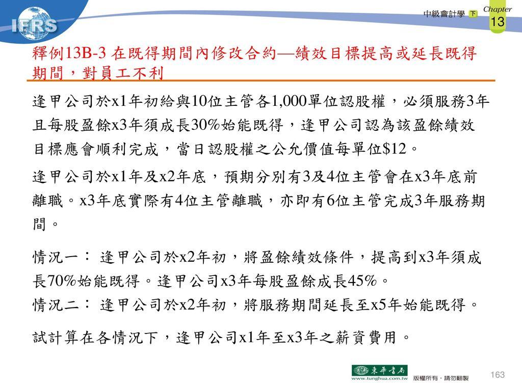 釋例13B-3 在既得期間內修改合約—績效目標提高或延長既得期間,對員工不利
