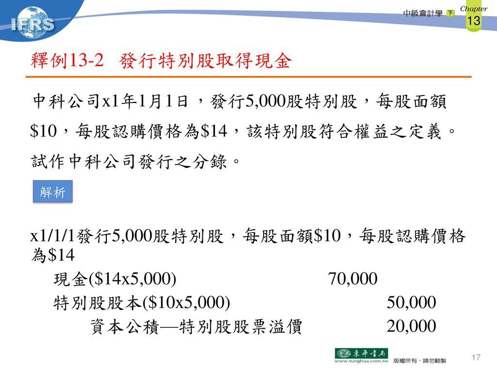 釋例13-2 發行特別股取得現金
