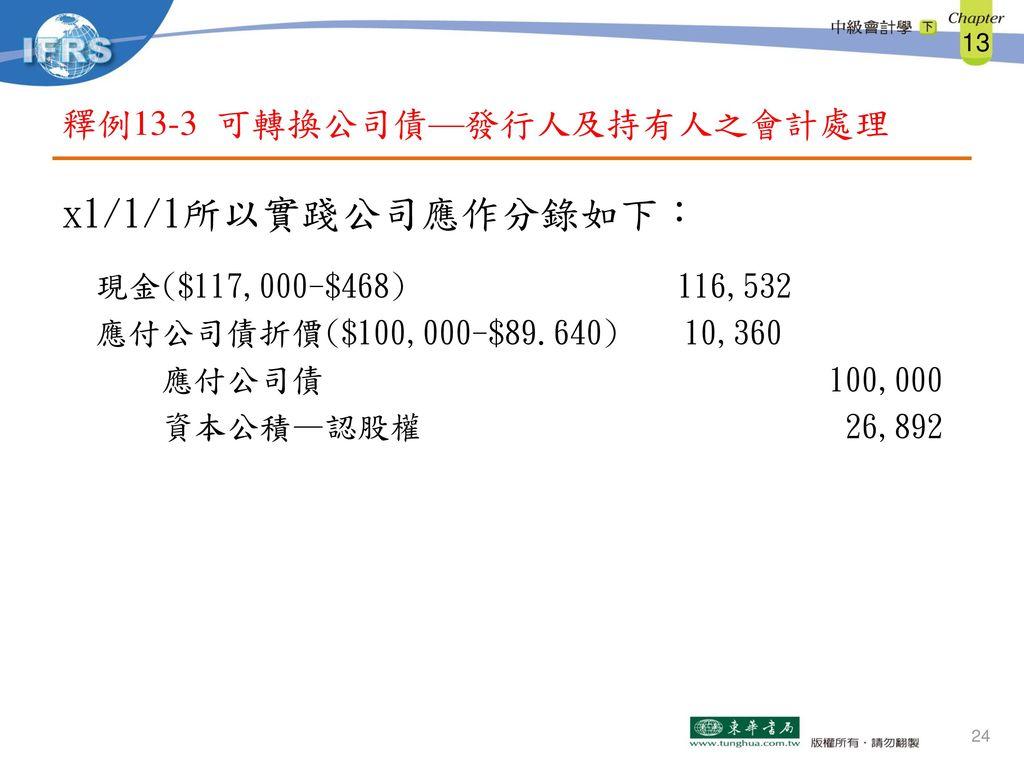 釋例13-3 可轉換公司債—發行人及持有人之會計處理
