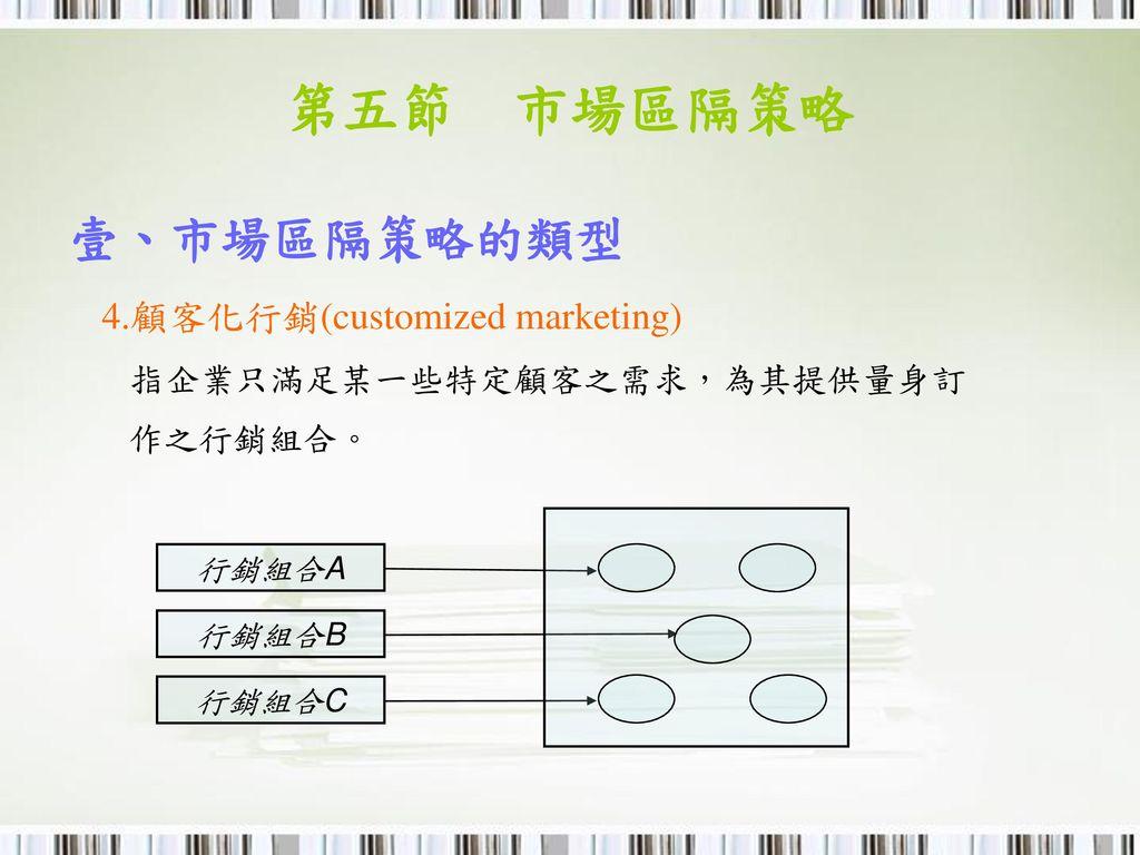 第五節 市場區隔策略 壹、市場區隔策略的類型