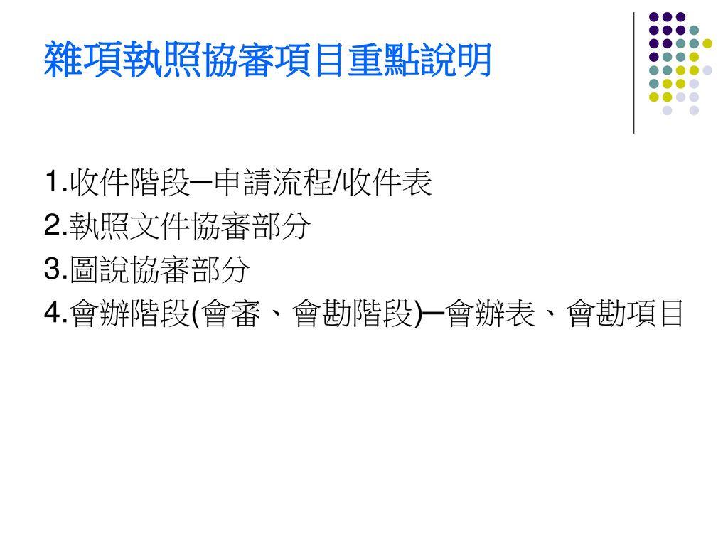雜項執照協審項目重點說明 1.收件階段─申請流程/收件表 2.執照文件協審部分 3.圖說協審部分