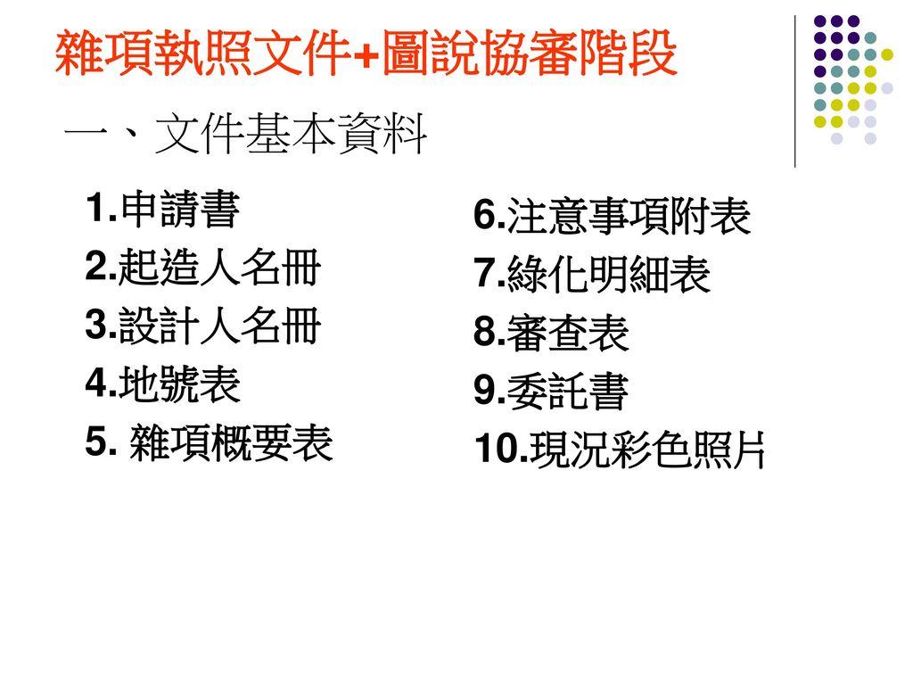 雜項執照文件+圖說協審階段 一、文件基本資料 1.申請書 6.注意事項附表 2.起造人名冊 7.綠化明細表 3.設計人名冊 8.審查表