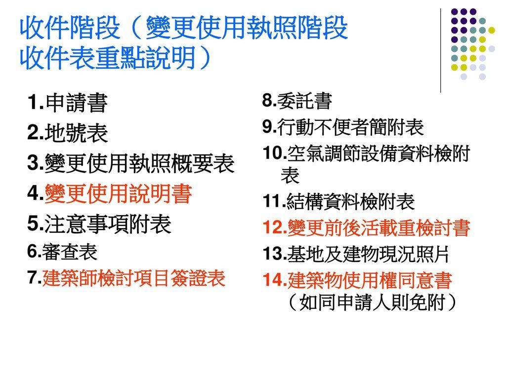 收件階段(變更使用執照階段 收件表重點說明)