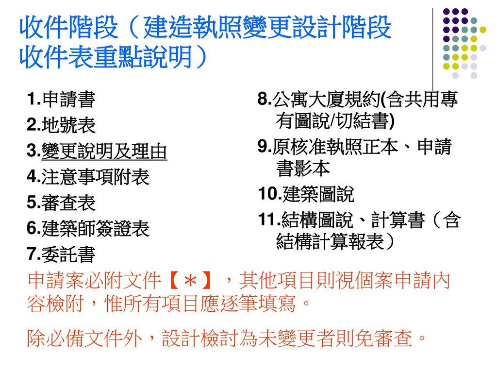 收件階段(建造執照變更設計階段 收件表重點說明)