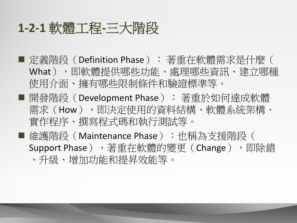 1-2-1 軟體工程-三大階段 定義階段(Definition Phase): 著重在軟體需求是什麼(What),即軟體提供哪些功能、處理哪些資訊、建立哪種使用介面、擁有哪些限制條件和驗證標準等。