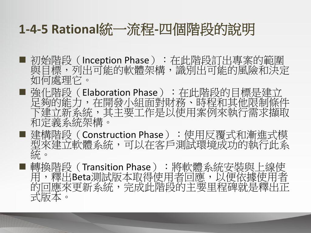 1-4-5 Rational統一流程-四個階段的說明