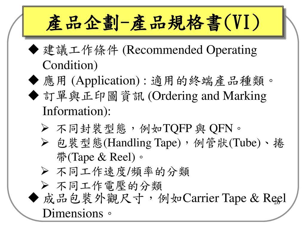 產品企劃-產品規格書(VI) 建議工作條件 (Recommended Operating Condition)