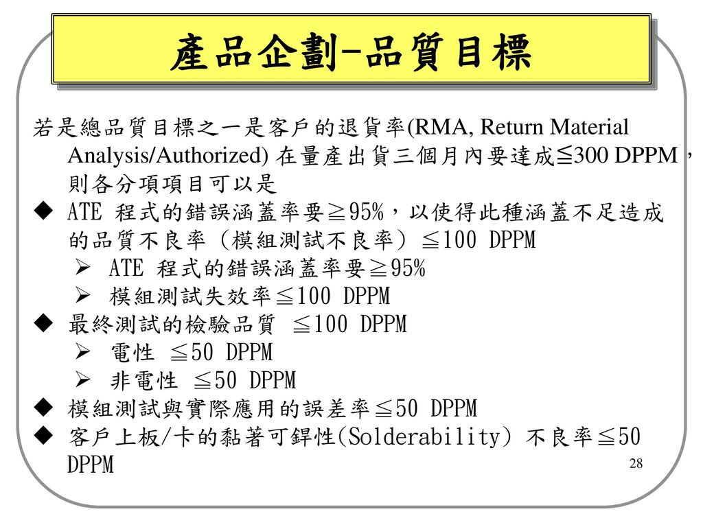 產品企劃-品質目標 若是總品質目標之一是客戶的退貨率(RMA, Return Material Analysis/Authorized) 在量產出貨三個月內要達成≦300 DPPM,則各分項項目可以是.