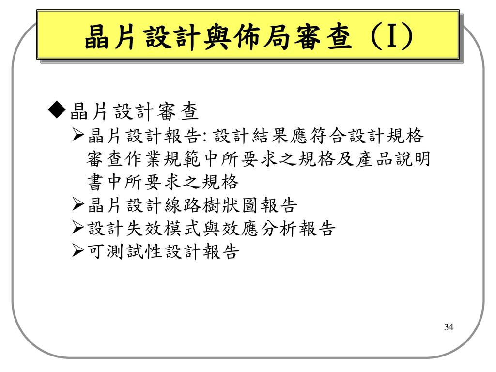 晶片設計與佈局審查 (I) 晶片設計審查 晶片設計報告: 設計結果應符合設計規格 審查作業規範中所要求之規格及產品說明 書中所要求之規格
