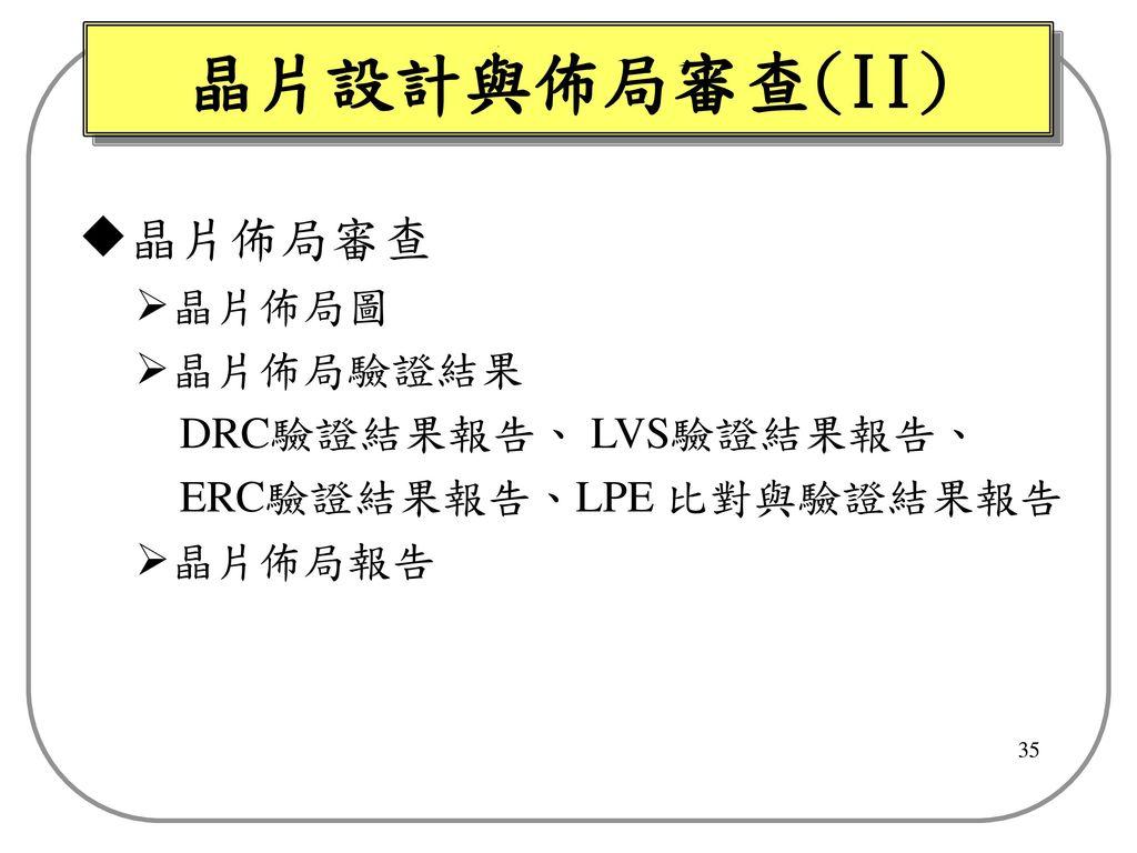 晶片設計與佈局審查(II) 晶片佈局審查 晶片佈局圖 晶片佈局驗證結果 DRC驗證結果報告、 LVS驗證結果報告、