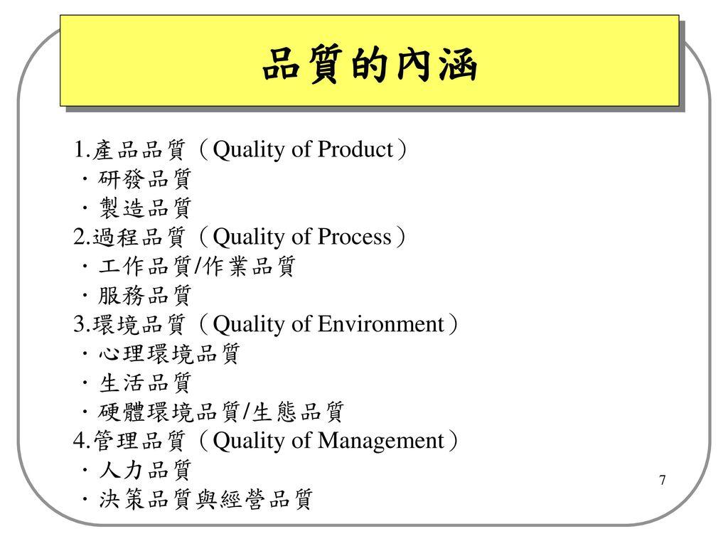品質的內涵 1.產品品質(Quality of Product) .研發品質 .製造品質