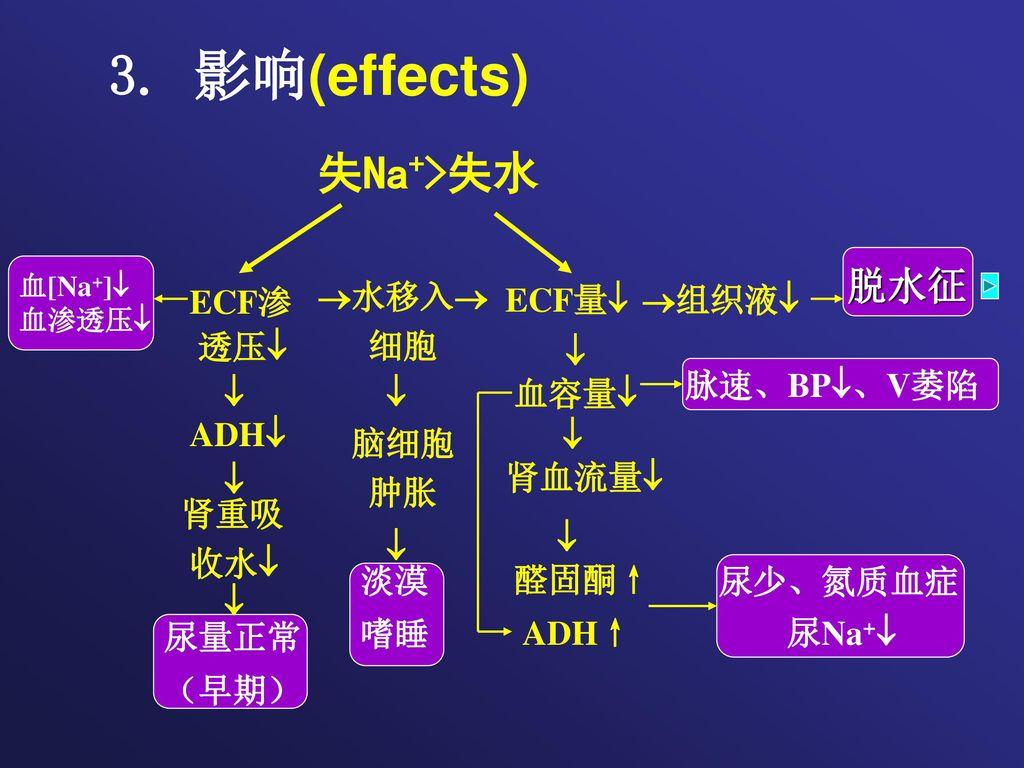 3. 影响(effects) 失Na+>失水 脱水征  尿量正常 ECF渗 透压 ECF量 组织液 水移入 细胞