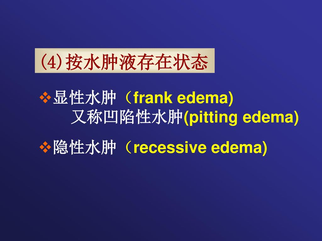 (4)按水肿液存在状态 显性水肿(frank edema) 又称凹陷性水肿(pitting edema)