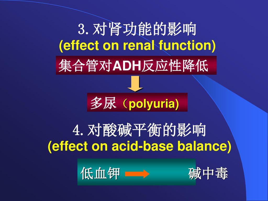 3.对肾功能的影响 (effect on renal function)