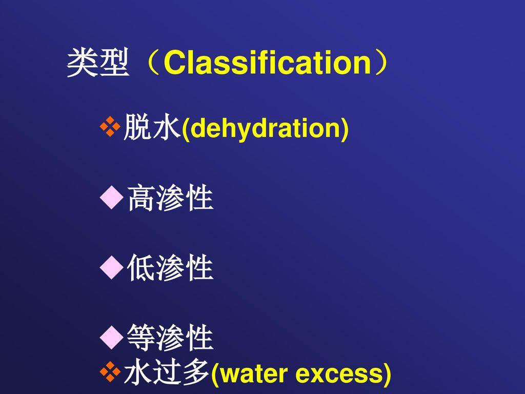 类型(Classification) 脱水(dehydration) ◆高渗性 ◆低渗性 ◆等渗性 水过多(water excess)