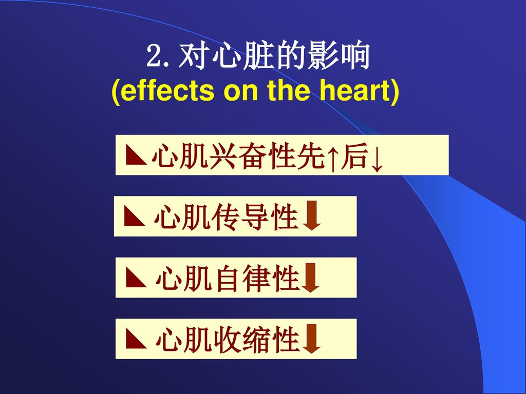 2.对心脏的影响 (effects on the heart)