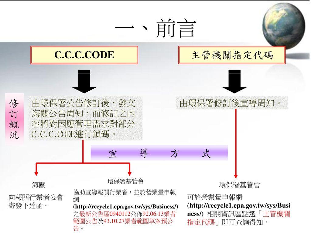 一、前言 C.C.C.CODE 主管機關指定代碼 修訂概況 宣 導 方 式