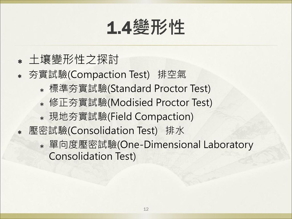 1.4變形性 土壤變形性之探討 夯實試驗(Compaction Test) 排空氣