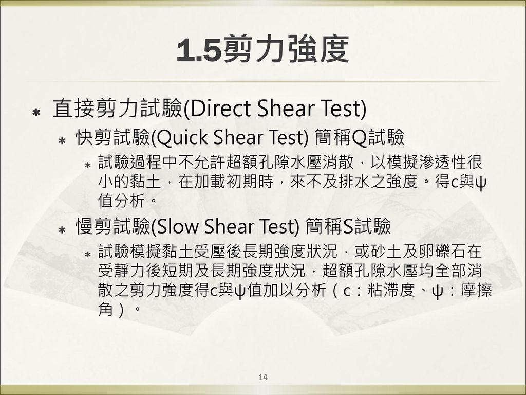 1.5剪力強度 直接剪力試驗(Direct Shear Test) 快剪試驗(Quick Shear Test) 簡稱Q試驗
