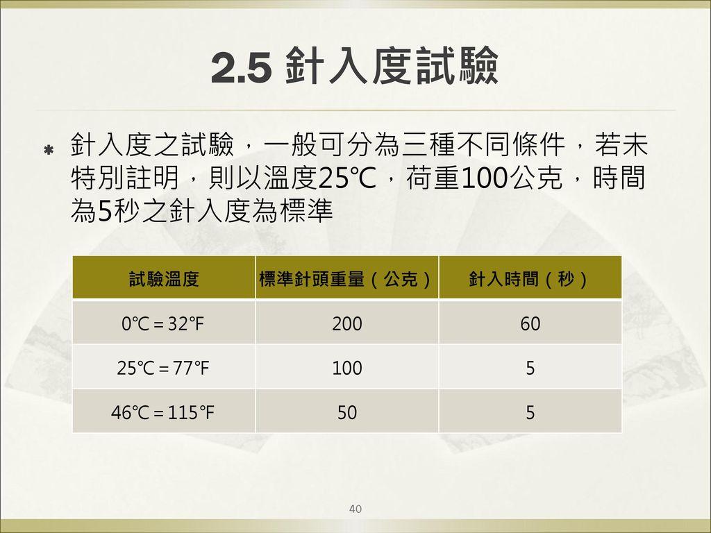 2.5 針入度試驗 針入度之試驗,一般可分為三種不同條件,若未特別註明,則以溫度25℃,荷重100公克,時間為5秒之針入度為標準 試驗溫度