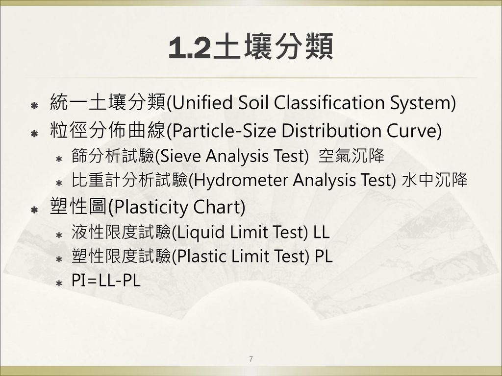 1.2土壤分類 統一土壤分類(Unified Soil Classification System)