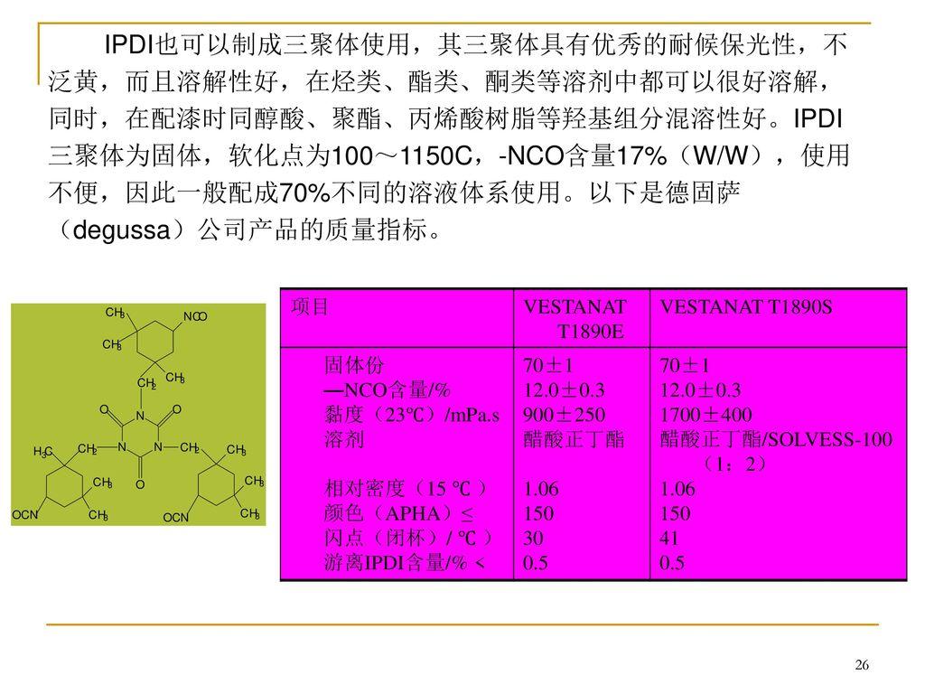 IPDI也可以制成三聚体使用,其三聚体具有优秀的耐候保光性,不泛黄,而且溶解性好,在烃类、酯类、酮类等溶剂中都可以很好溶解,同时,在配漆时同醇酸、聚酯、丙烯酸树脂等羟基组分混溶性好。IPDI三聚体为固体,软化点为100~1150C,-NCO含量17%(W/W),使用不便,因此一般配成70%不同的溶液体系使用。以下是德固萨(degussa)公司产品的质量指标。