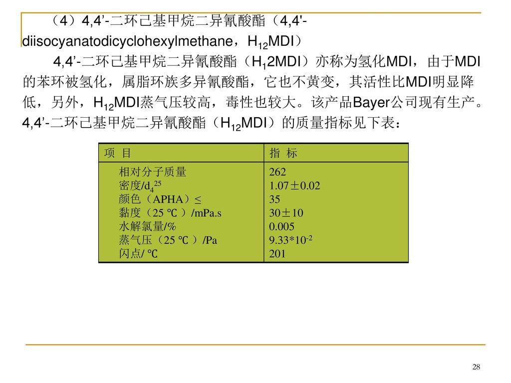 (4)4,4'-二环己基甲烷二异氰酸酯(4,4 -diisocyanatodicyclohexylmethane,H12MDI)