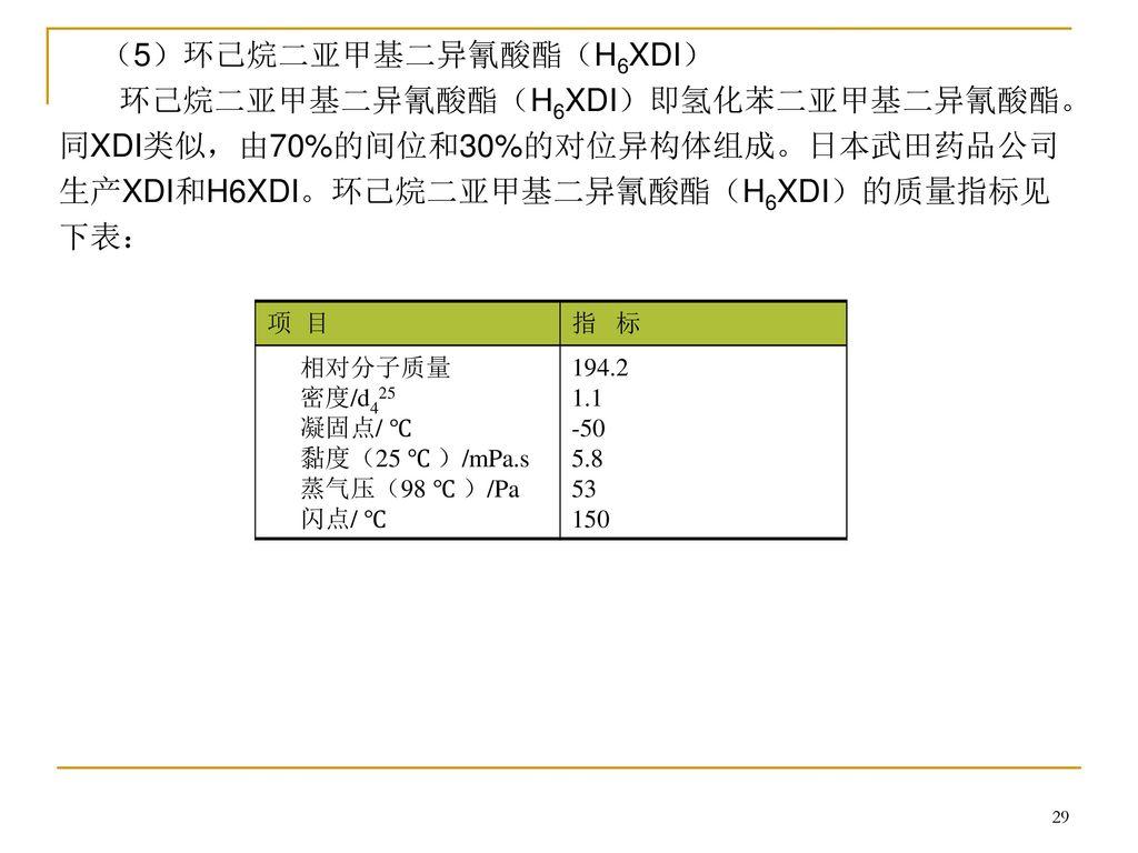 (5)环己烷二亚甲基二异氰酸酯(H6XDI)
