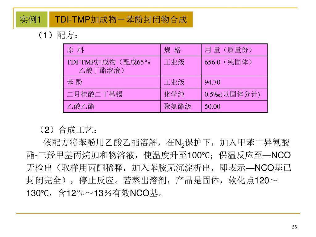 实例1 TDI-TMP加成物-苯酚封闭物合成 (1)配方: (2)合成工艺: