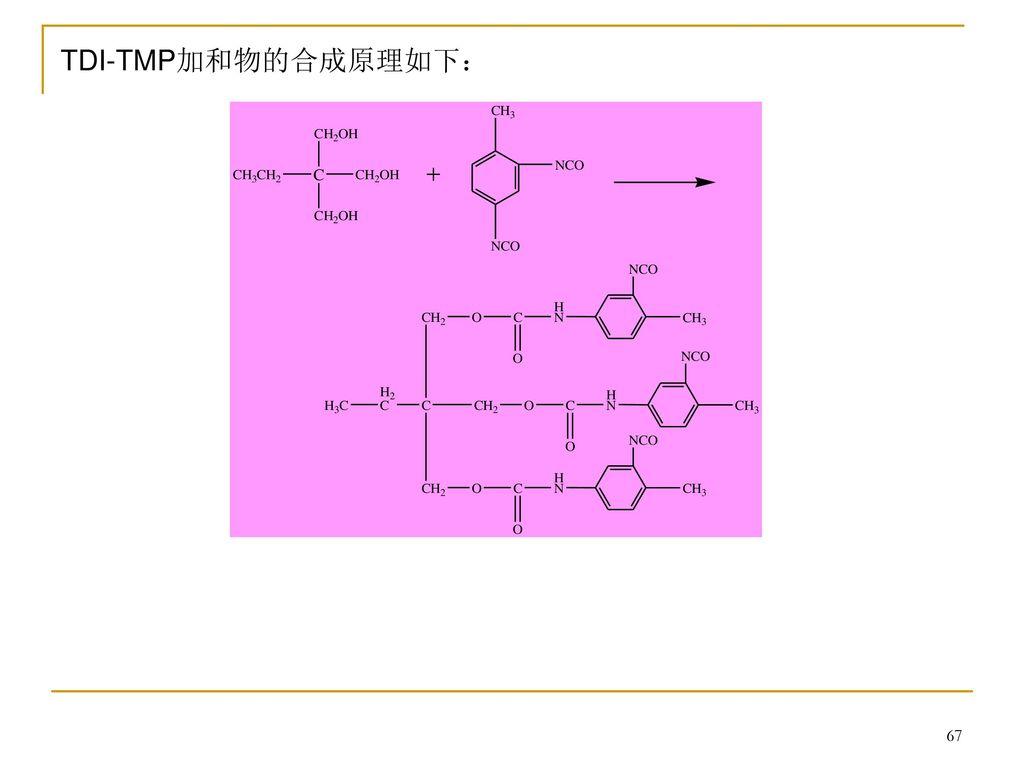TDI-TMP加和物的合成原理如下: