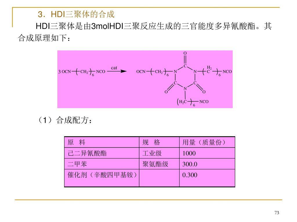 HDI三聚体是由3molHDI三聚反应生成的三官能度多异氰酸酯。其合成原理如下: