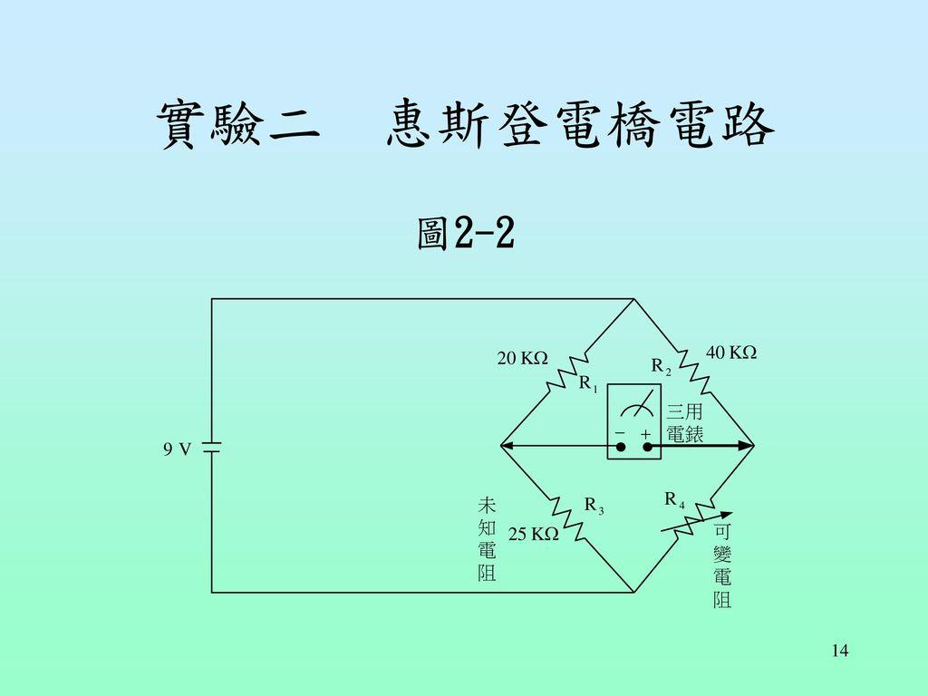 實驗二 惠斯登電橋電路 圖2-2