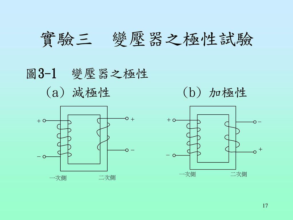 實驗三 變壓器之極性試驗 圖3-1 變壓器之極性 (a) 減極性 (b) 加極性