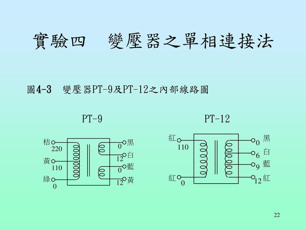 實驗四 變壓器之單相連接法 圖4-3 變壓器PT-9及PT-12之內部線路圖 PT-9 PT-12