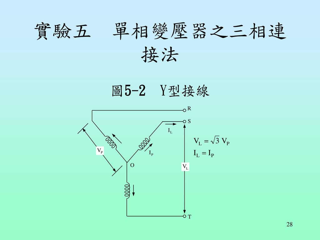 實驗五 單相變壓器之三相連接法 圖5-2 Y型接線