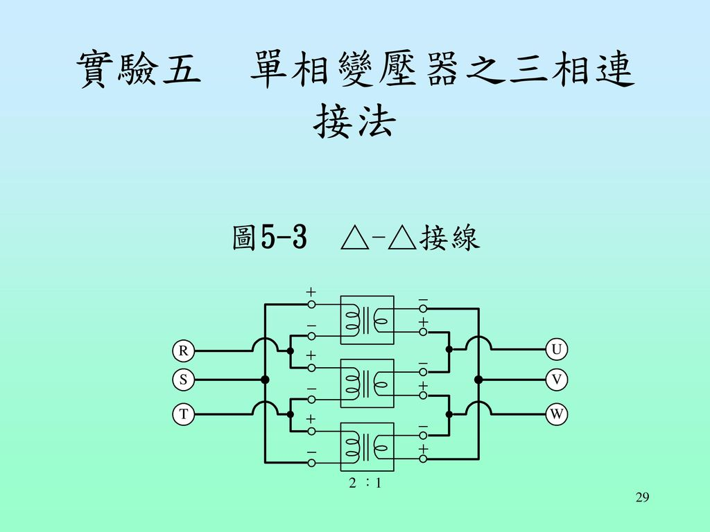 實驗五 單相變壓器之三相連接法 圖5-3 △-△接線