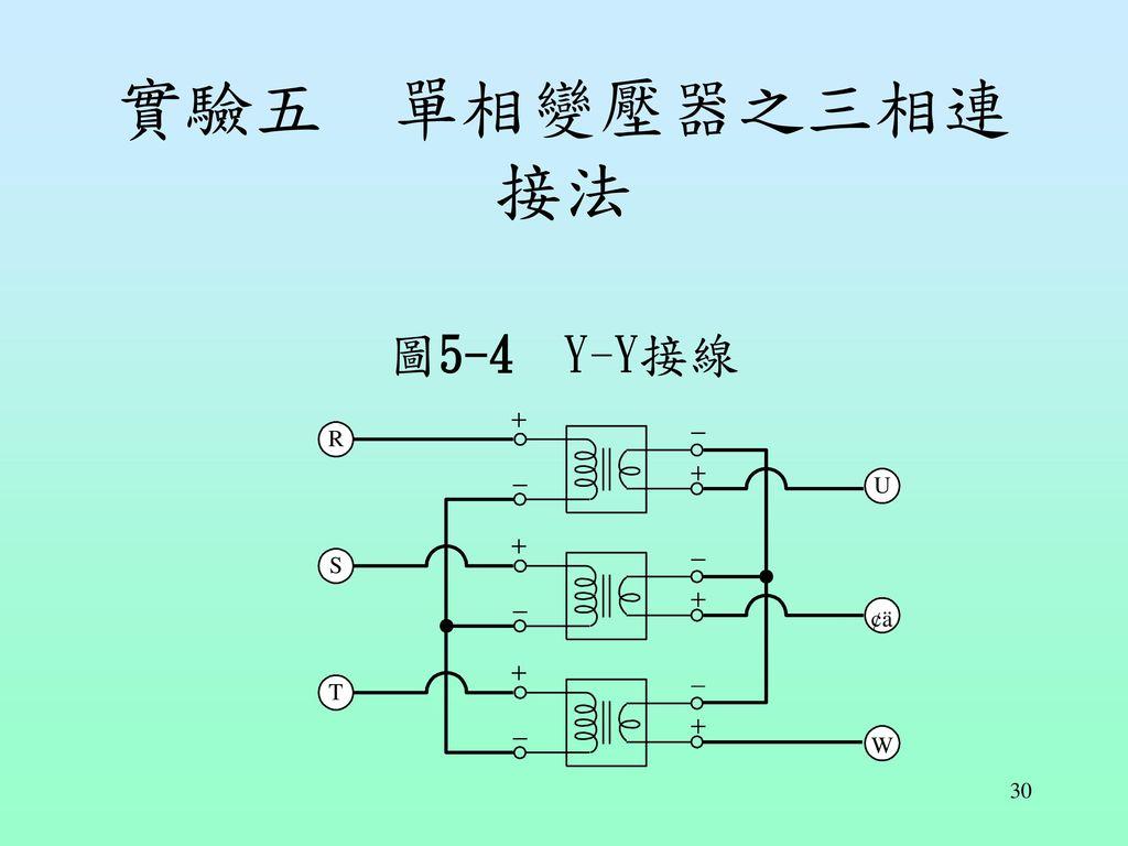 實驗五 單相變壓器之三相連接法 圖5-4 Y-Y接線