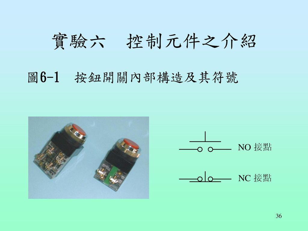 實驗六 控制元件之介紹 圖6-1 按鈕開關內部構造及其符號