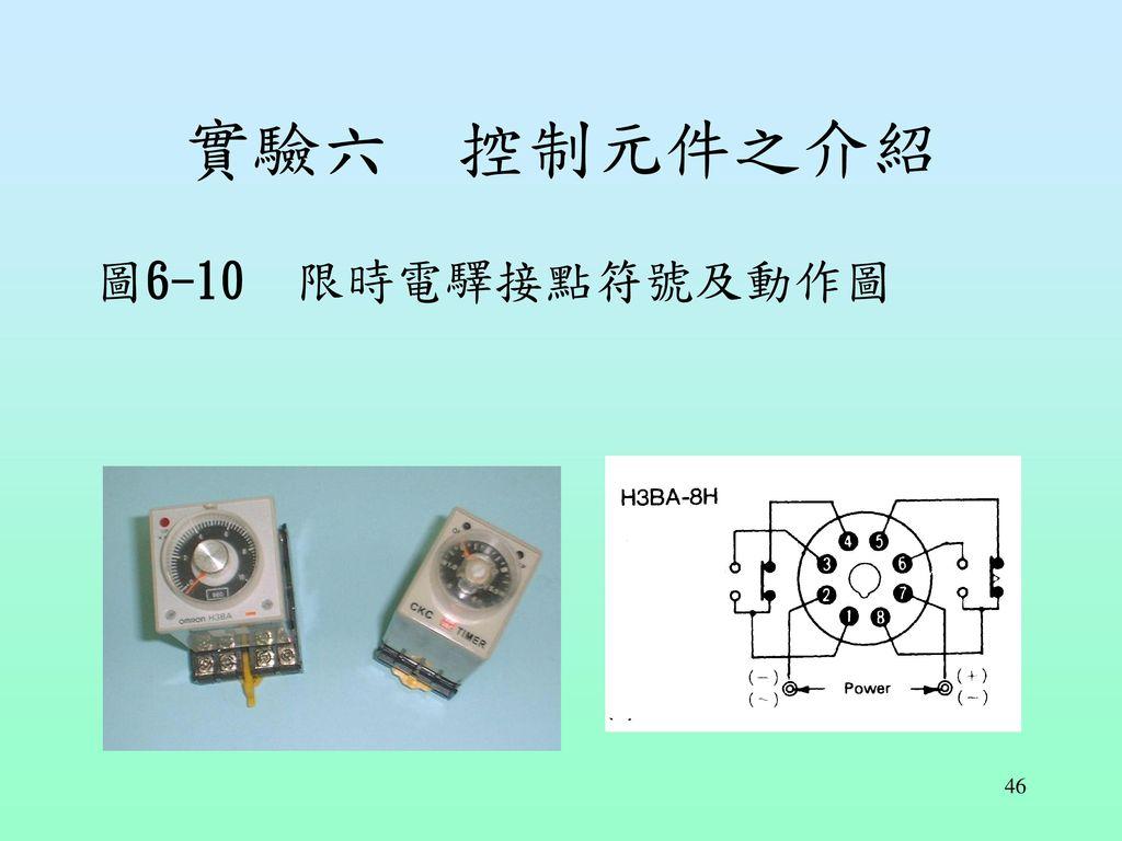 實驗六 控制元件之介紹 圖6-10 限時電驛接點符號及動作圖