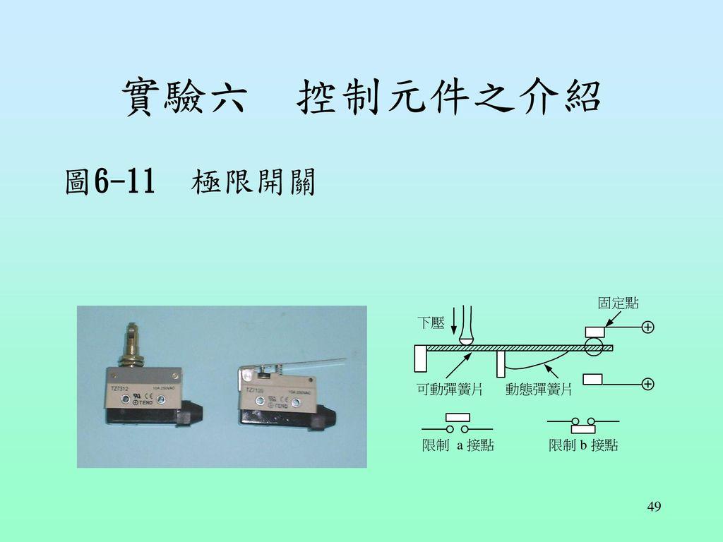 實驗六 控制元件之介紹 圖6-11 極限開關