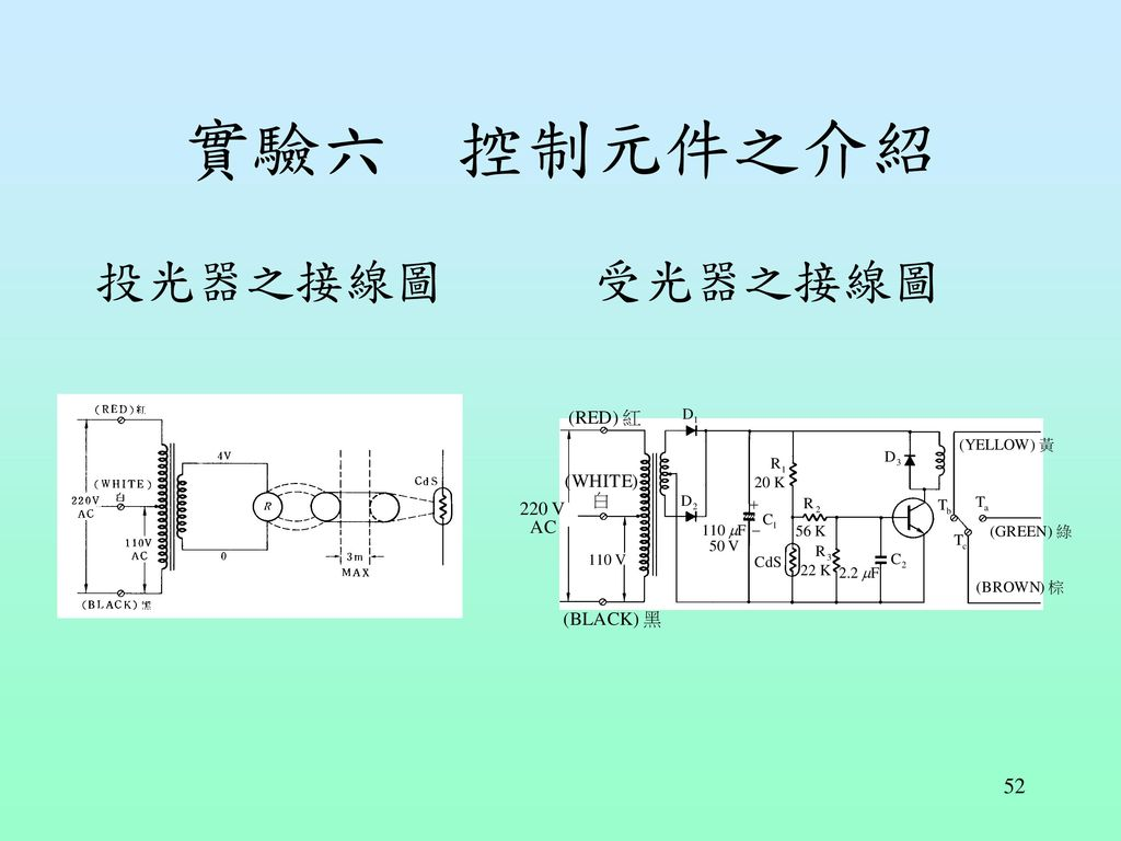 實驗六 控制元件之介紹 投光器之接線圖 受光器之接線圖