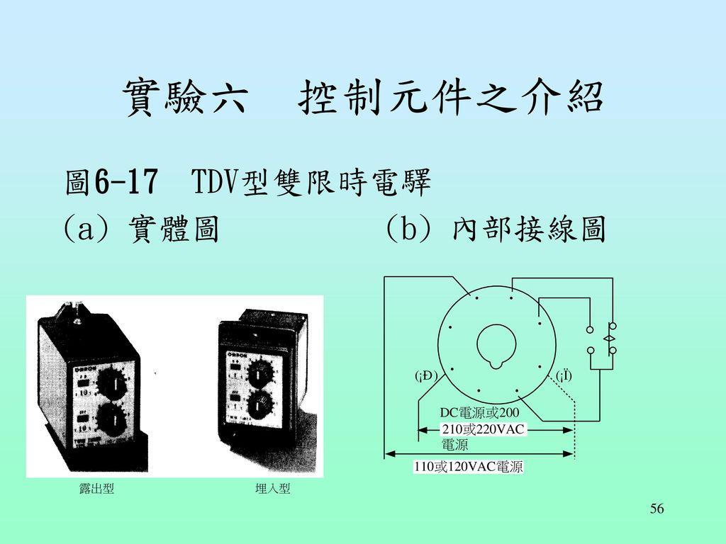 實驗六 控制元件之介紹 圖6-17 TDV型雙限時電驛 (a) 實體圖 (b) 內部接線圖