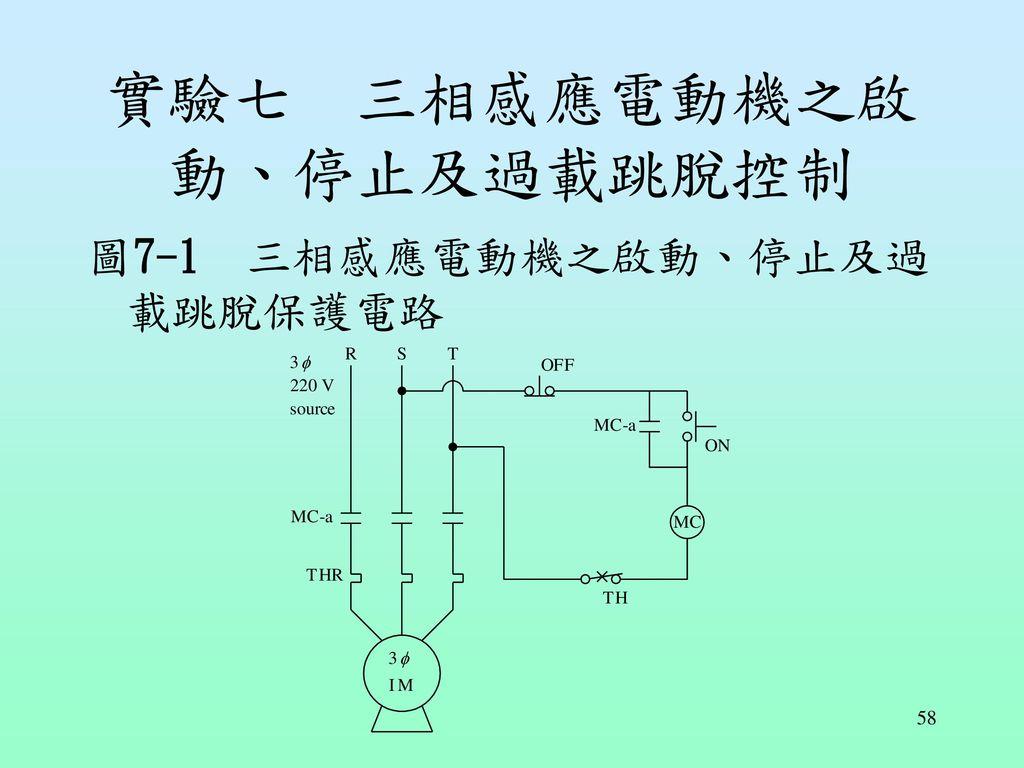 實驗七 三相感應電動機之啟動、停止及過載跳脫控制